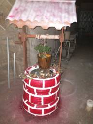 Pocinho caseiro feito de peneu para colocar planta/ flores  atesanal