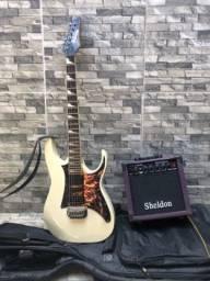 Guitarra Ibanez 150dx autografada pelo Cacau Santos + amplificador Sheldon GT1200