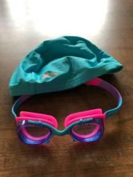 Kit touca e oculos natacao