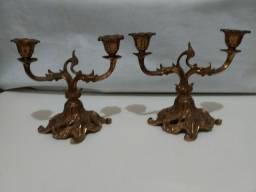 CASTIÇAIS DE BRONZE, de 2 velas, ANTIGUIDADE, peças dos Anos 40/50<br><br>Século Passado<br><br>