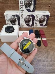 Smartwatch Sports Redondo F35 Tela Curva 3D, 12 esportes, Foto na Tela e Troca pulseira