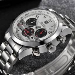3e87f3bfc5c Relógio masculino Benyar Luxo função cronógrafo aço inoxidável vidro mineral