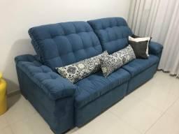 Sofá retrátil azul 2,60m 4 meses de uso