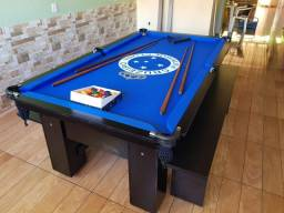 Mesa de Bilhar e Jantar | Mesa Preta | Tecido Azul | Cruzeiro | Modelo: HFRJ0617
