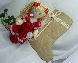 Boneca Pricila + Bota de Natal