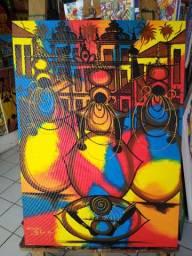Belo Quadro Pintura decorativa em acrílica sobre tela 50x70 Artista Cacau Bahia.