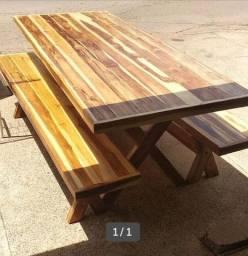 Mesa 2,20cm madeira Teka 2 bancos