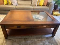 Mesa de centro Sierra em madeira maciça couro e vidro 130 x 0.90 x 0.45