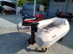 Bote inflável e Motor Mercury 5hp