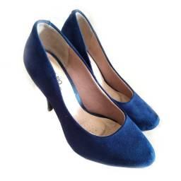 Sapato Feminino Salto Alto Camurça azul Beira rio Confortável