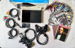 Playstation 2 Completo c/ Caixa e Manual (Colecionador)  50 Jogos