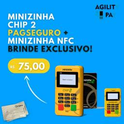 Máquina de Cartão Minizinha Chip 2 PagSeguro , Brinde Minizinha NFC, Parcelo 12x