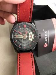 Relógio Curren Vermelho Masculino Analógico Calendário Com Caixa da Marca