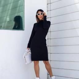 Vestido cacharrel manga longa canelado no joelho preto e cinza