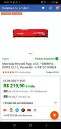 Memória RAM hyperx fury ddr3 4gb