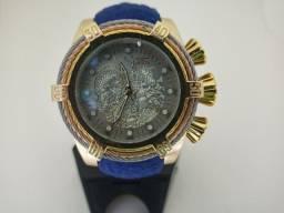 Relógio masculino dourado grande pulseira azul