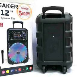 Caixa de som amplificada 5000w + microfone s/  fio e controle remoto