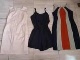 Lote vestidos, blusas e bolsas