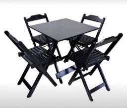 Conjunto Mesa e 4 cadeiras Pretas (madeira)