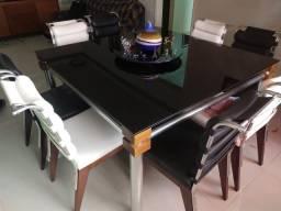 Jogo de Jantar - Mesa tampo de vidro com 08 cadeiras
