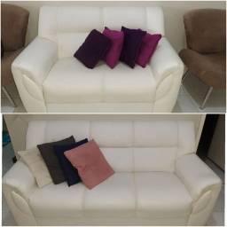 PROMOÇÃO Sofá de 2 e 3 Lugares Courino Branco
