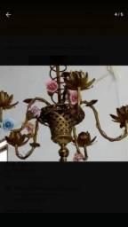 Lustre Antigo De Bronze Com Flores Em Biscuit