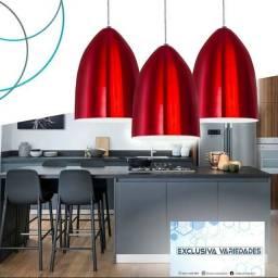 Kit 3 Lustres Pendente de Cone Em Alumínio Vermelho