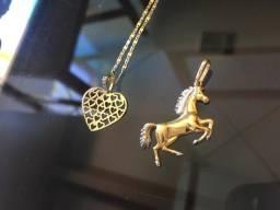 Cordão e pingentes ouro 18k