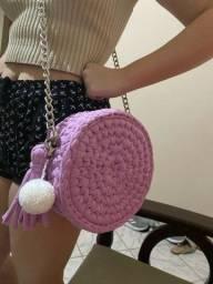 Bolsa redonda de crochê