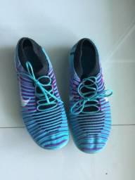 Tênis Nike rn free flyknit azul e rosa