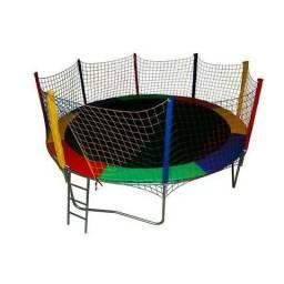 Pulapula cama elástica 2,44m completa colorida com escada - Promoção !