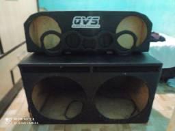 Caixa de som e fonte caseira