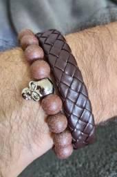 Kit 2 braceletes marrom masculino