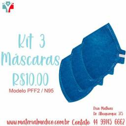 Kit 3 máscaras PFF2 N95 Azul