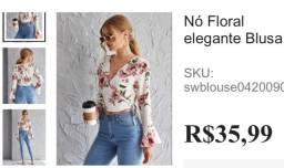 Blusa floral de nó SHEIN
