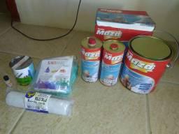 Kit tinta PU Maza + kit fibra e resina+ rolo epoxi