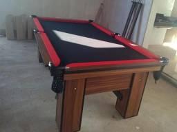 Mesa de Rede com Tecido Preto Cor Imbuia e Borda Vermelha Mod LASM2931