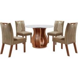 Conjunto Sala de Jantar Nuance de Jantar Com 4 Cadeiras Castanho Prêmio Tampo Chanfrado