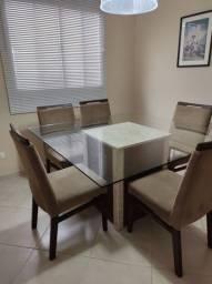 Vendo mesa de 8 lugares com base de mármore