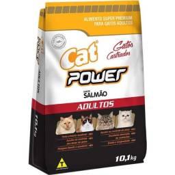 Ração cat power para gatos adultos castrados sabor salmão ou frango 10,1 kg