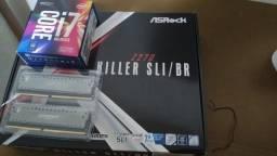 processador I7-7770k + placa mãe +  2 x memória RGB 8GB