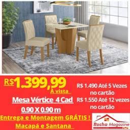 PROMOÇÃO:Mesa 4 Cadeiras MDF e Vidro NOVAS