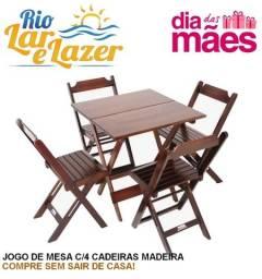 Kit de Mesa 0,70x0,70 de Madeira com 4 Cadeiras - Dobráveis