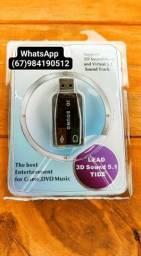 Adaptador de Áudio USB fone e microfone