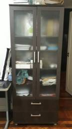 Estante/Biblioteca Livramento 2 Portas De Vidro, 4 prateleiras e 2 gavetas, Cor Nogueira