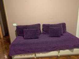 Cama auxiliar, colchão e conjunto de almofadas