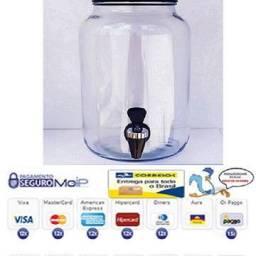 Suqueira de vidro com torneira preta