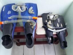 Kit de mergulho semi novo