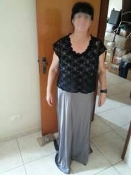Vestido Cinza com Jaleco para Festas, Formaturas e Casamentos