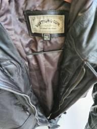 Casaco de couro legítimo preto